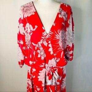 Lane Bryant Pink Floral Drop Shoulder Dress